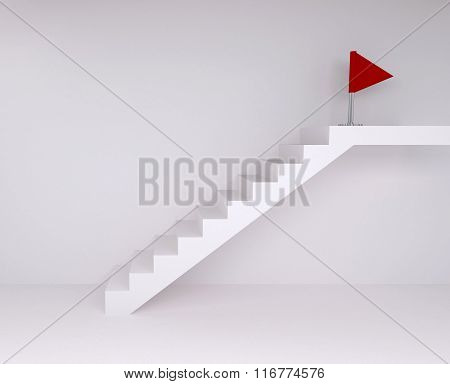 Empty Room With Ascending Stairs To Red Flag, With Floor And Wall
