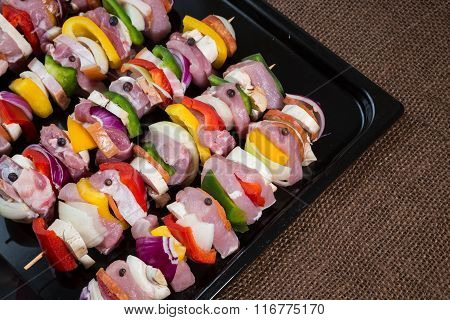 Raw Pork Skewers Ready For Grilling