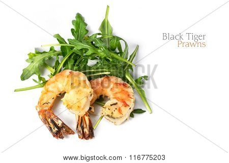 Roasted Black Tiger Prawns On Rocket Salad, Closeup Shot Isolated On White