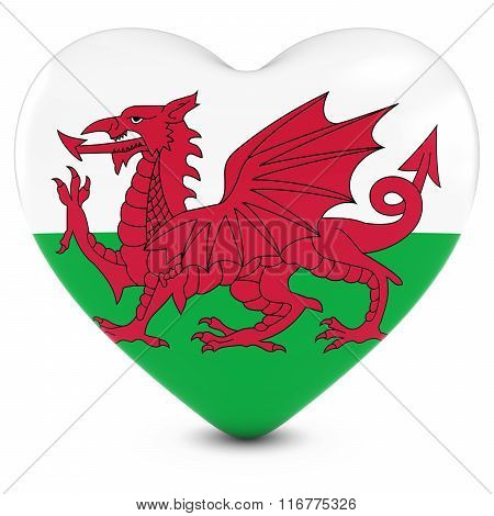 Love Wales Concept Image - Heart Textured With Welsh Flag