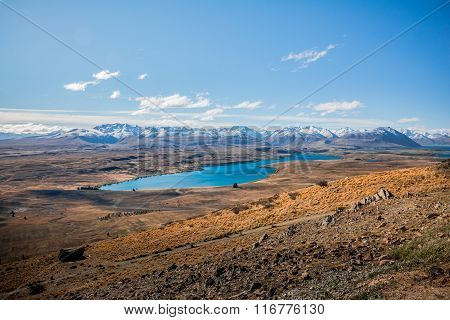 View of Lake Tekapo and the Southern Alps mountain range, New Zealand
