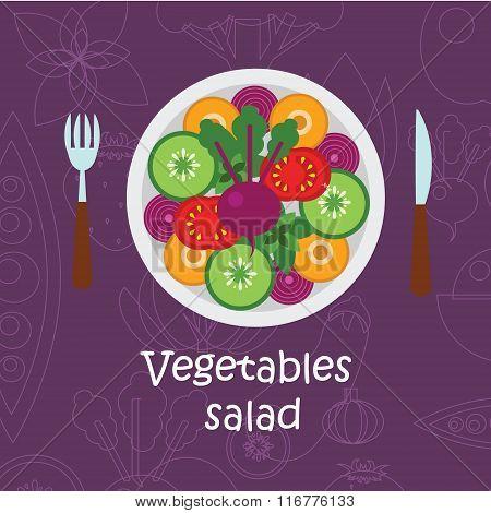 Fresh vegetables salad with olive oil on violet background