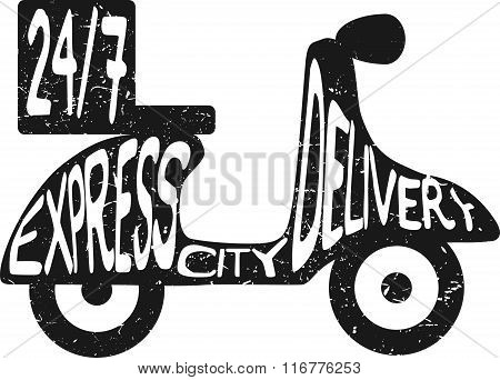 Scooter express city delivery vector illustration. Icon for delivery service. Minimal black flat ill