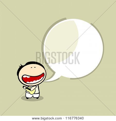 Card with a singing guitarist and a speech bubble window for your text