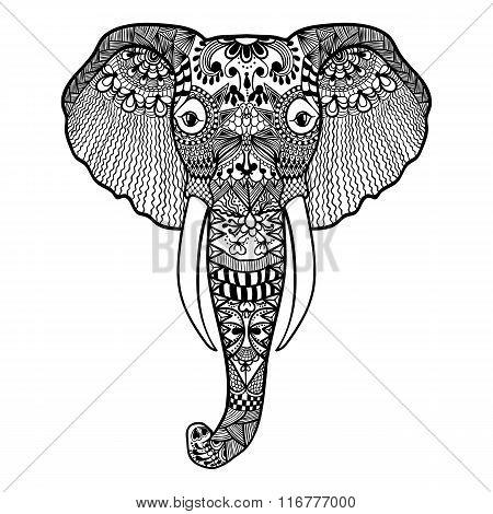 Zentangle stylized Elephant. Hand Drawn lace vector illustration