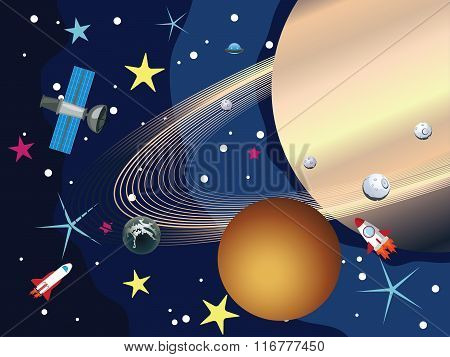 Saturn In The Space
