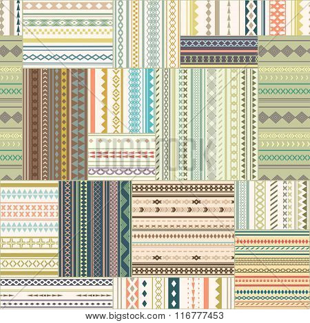 Vector Seamless Patchwork Pattern. Vintage Ethnic Tribal Seamless Texture