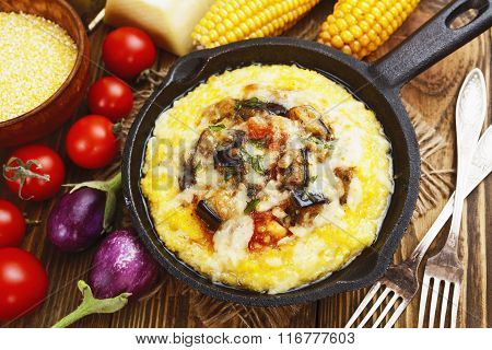 Polenta Baked With Vegetables And Cheese