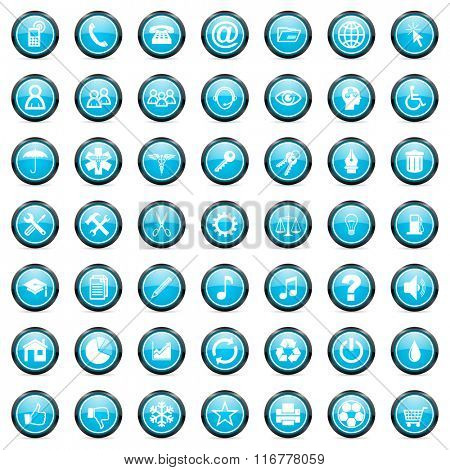 business internet blue glossy circle icons set on white background