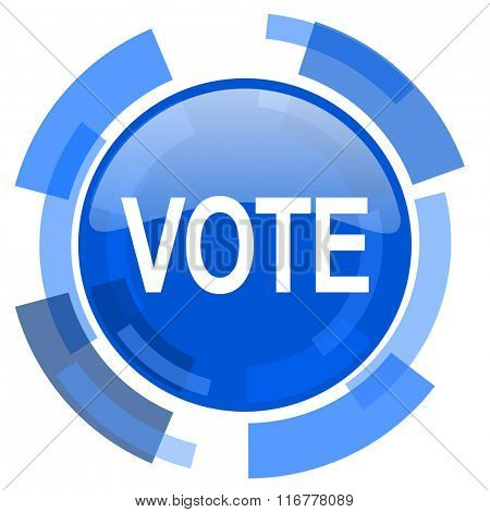 vote blue glossy circle modern web icon