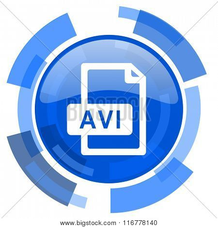 avi file blue glossy circle modern web icon