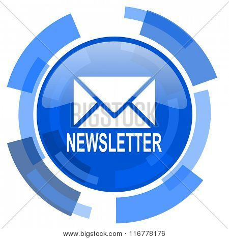 newsletter blue glossy circle modern web icon