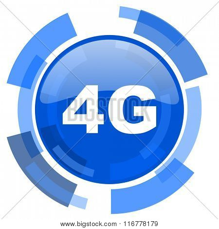 4g blue glossy circle modern web icon