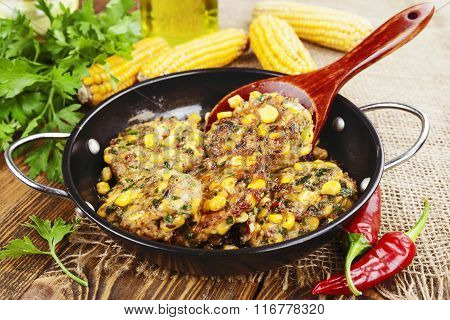 Corn Pancakes With Minced Meat
