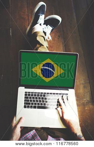 Brazil National Flag Business Communication Connection Concept