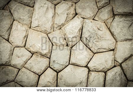 Closeup Old Stone Wall In The Garden Texture Background In Vintage Tone