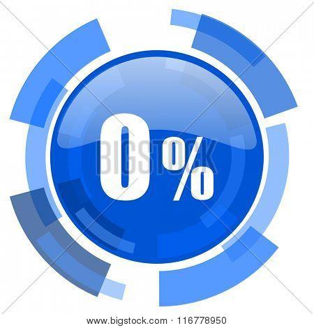 0 percent blue glossy circle modern web icon