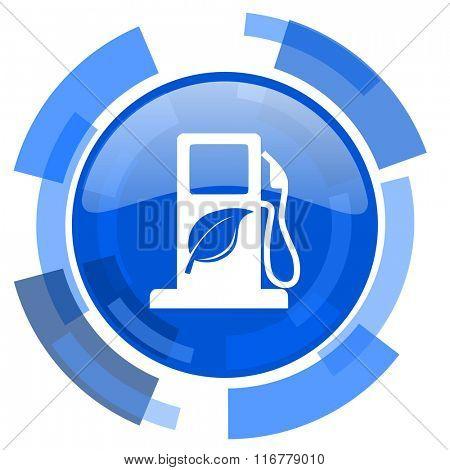 biofuel blue glossy circle modern web icon