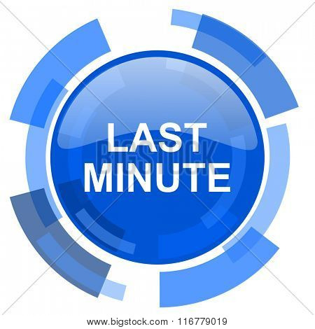 last minute blue glossy circle modern web icon