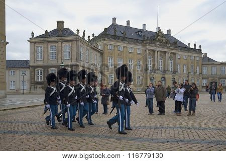 Honor guard National Guard marching on the square near the Amalienborg Palace. Copenhagen