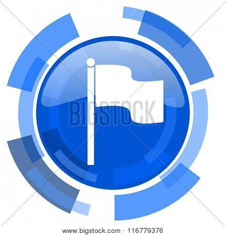flag blue glossy circle modern web icon