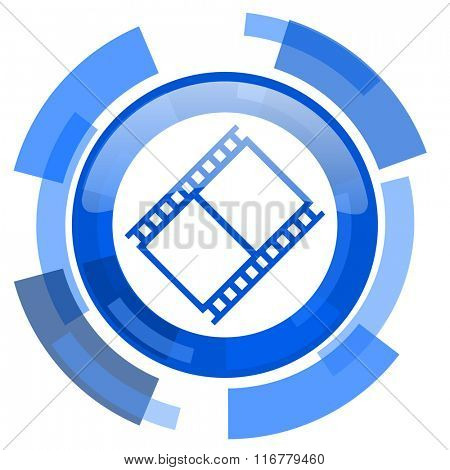 film blue glossy circle modern web icon