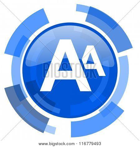alphabet blue glossy circle modern web icon