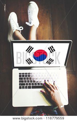 South Korea National Flag Business Communication Connection Concept