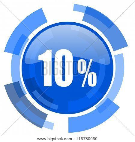 10 percent blue glossy circle modern web icon