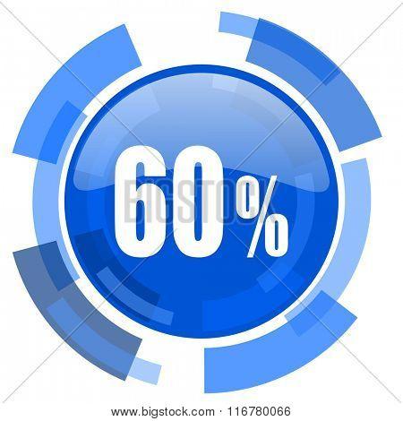 60 percent blue glossy circle modern web icon