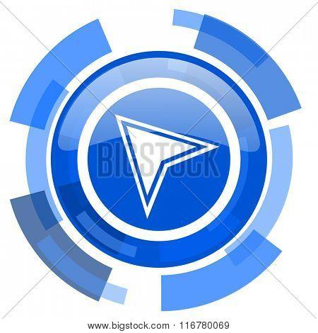 navigation blue glossy circle modern web icon