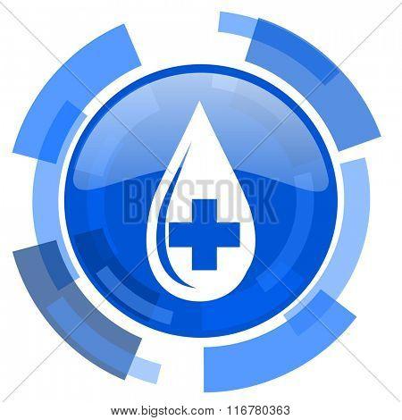 blood blue glossy circle modern web icon