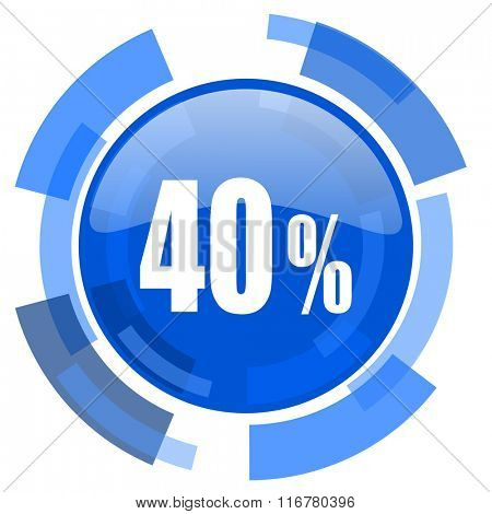 40 percent blue glossy circle modern web icon