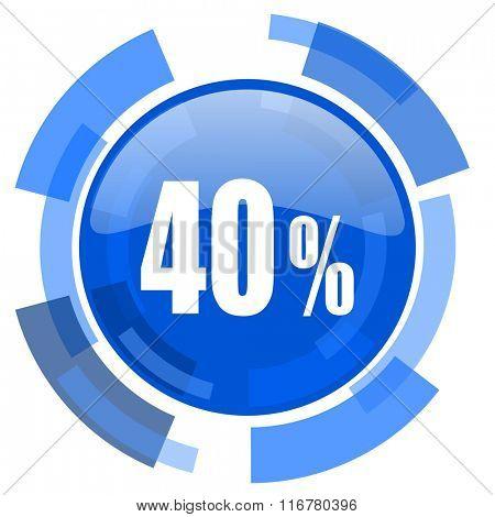40 percent blue glossy circle modern web icon