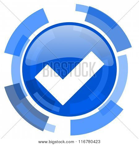 accept blue glossy circle modern web icon