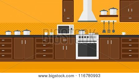 Background of kitchen with appliances.