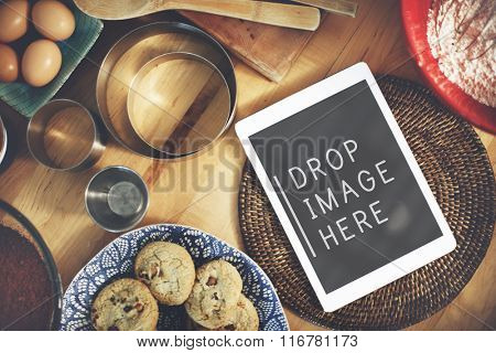 Digital Tablet Kitchen Bakery Cookies Copy Space Concept