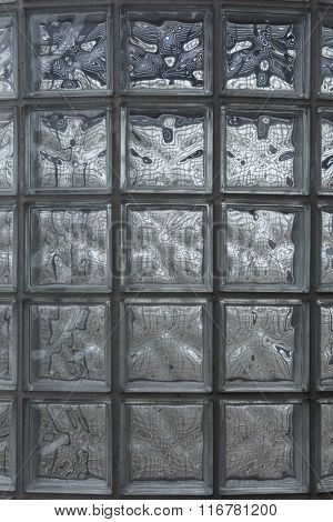 Glass blocks wall. Background texture.