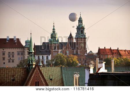 Landmarks of Krakow and the flying balloon