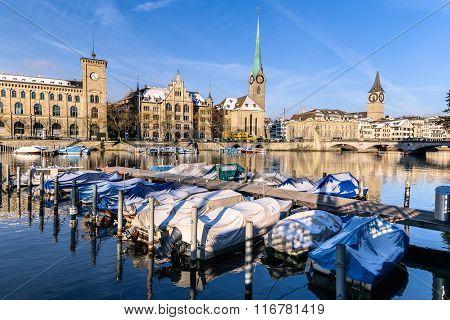 Zurich City In Winter, Switzerland