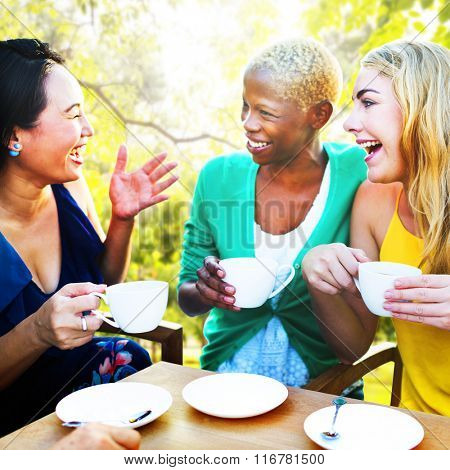 Diverse People Coffee Shop Outdoors Chat Concept