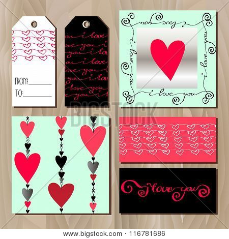 Set of cards with red valentines day design.