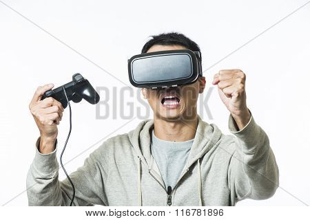 Man wearing virtual reality goggles watching movies or playing video games