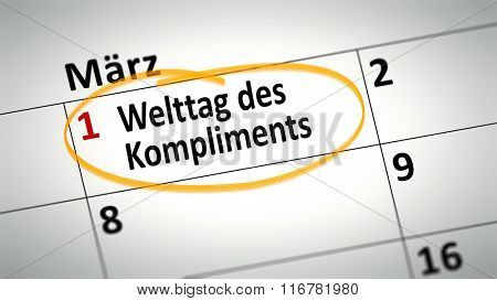 calendar detail shows World Day of compliment at first of March in german language