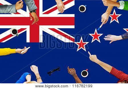 New Zealand National Flag Business Team Meeting Concept