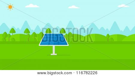 Background of mountains with solar panel.