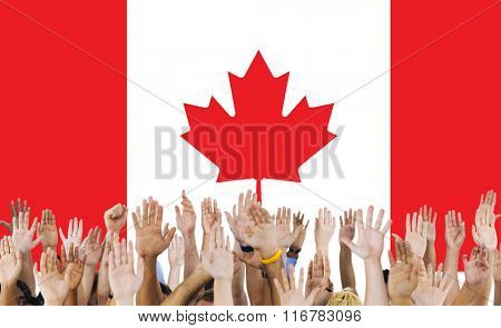 Canada National Flag Group of People Concept