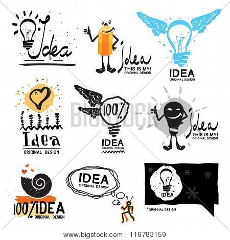 Idea logo. Glow crazy logo symbol. Light bulb with wings logo.