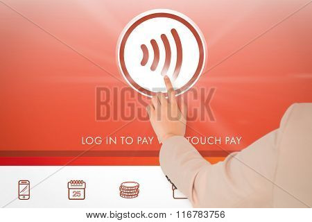 Businesswoman pointing against web