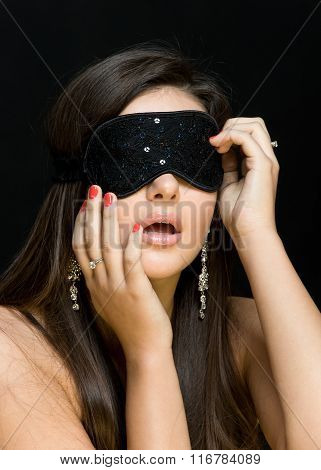Beautiful Sexy Woman. Her Eyes Closed Mask
